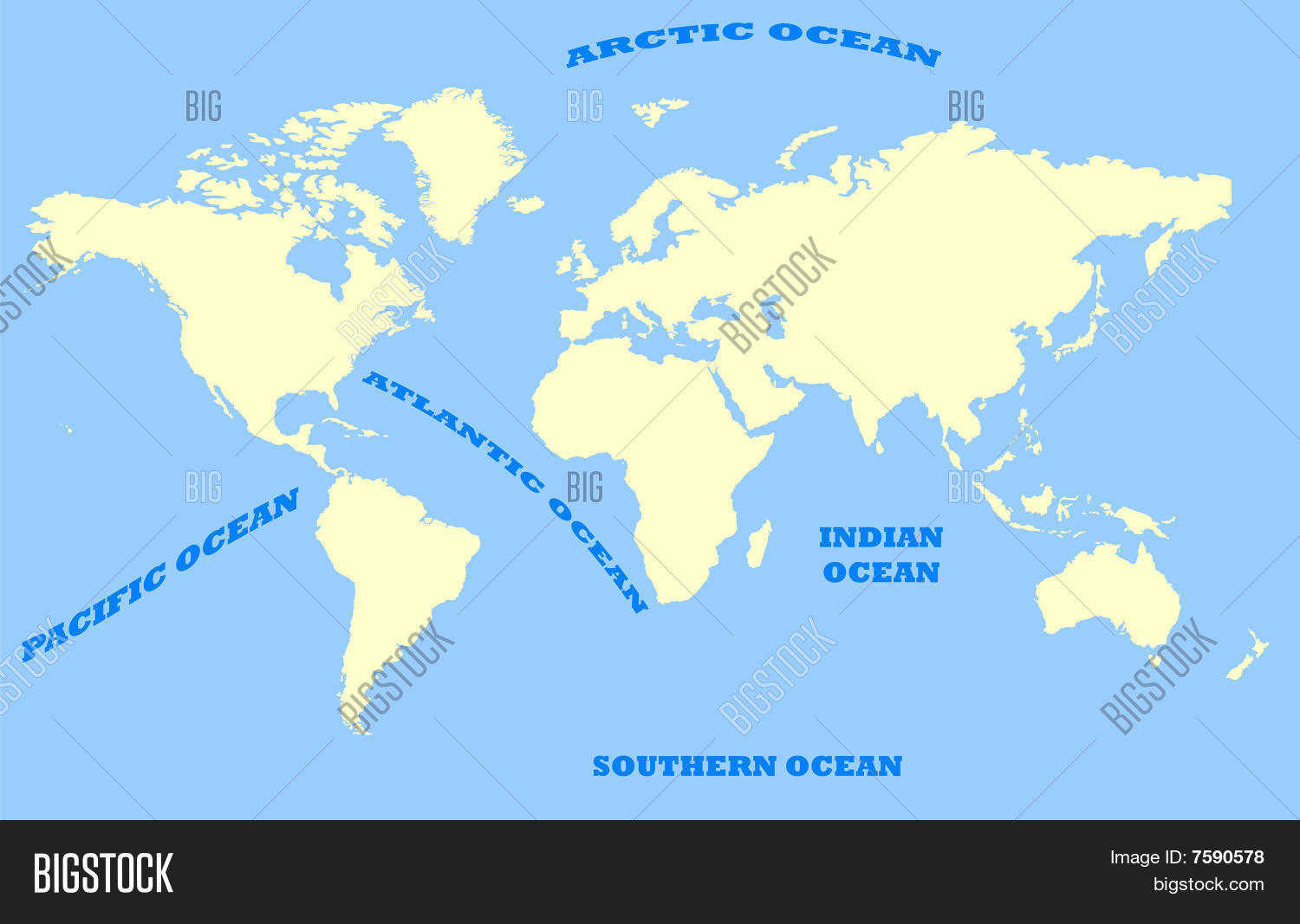 Map Of World And Oceans.Map World Oceans Image Photo Free Trial Bigstock
