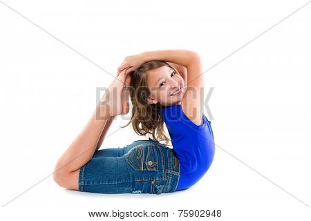 Flexible contortionist kid girl playing happy on white background