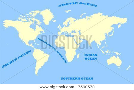 Map Of World And Oceans