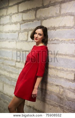 Woman In Hallway And Limestone Wall Sihouette