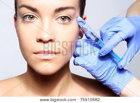 Filling of wrinkles, crow's feet, injection of acid