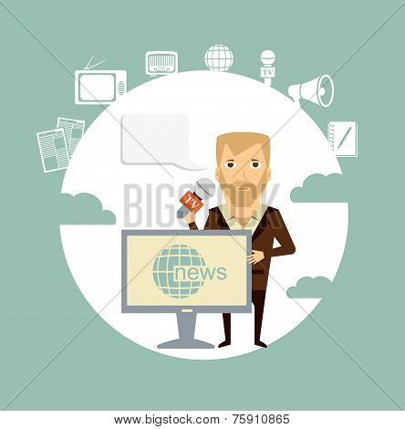 journalist says TV news illustration