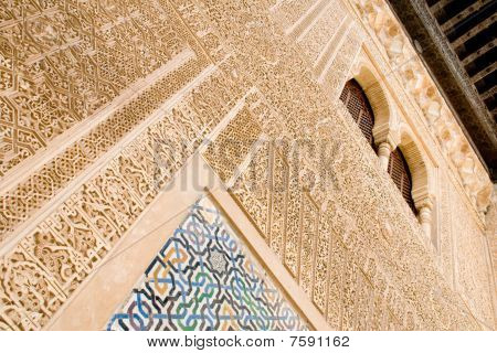 Alhambra carved wall with window