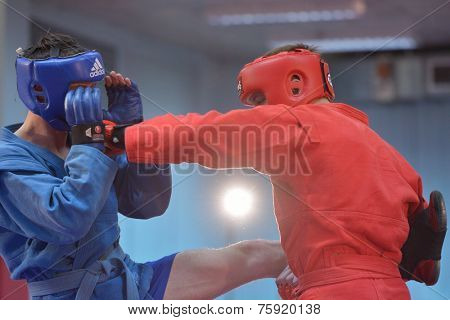 NOVOSIBIRSK, RUSSIA - OCTOBER 16, 2014: Unidentified sambo wrestlers during the open training. The event aimed to promote the MMA Friendship Cup which took place on November 8