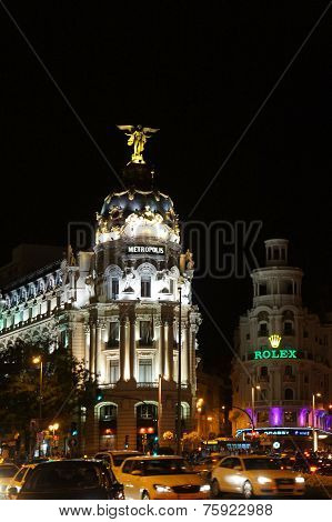 Gran Via street of Madrid by night