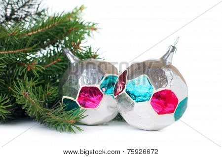 Vintage Christmas decorations and spruce branches on white background isolated poster