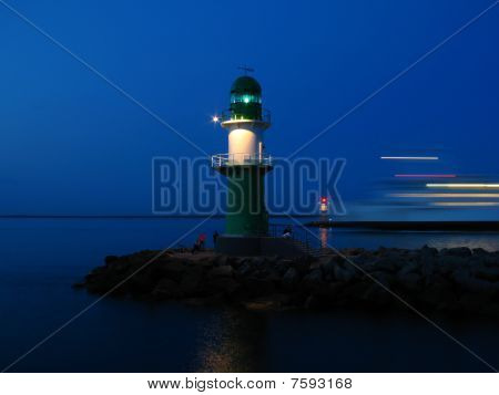 Lighthouses in a harbour entrance