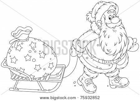 Santa with a gift bag