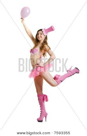 Funny Brunette In Pink