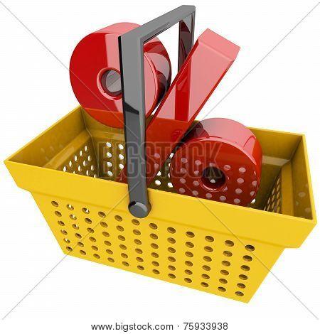 Shopping Basket With Percentage Symbol