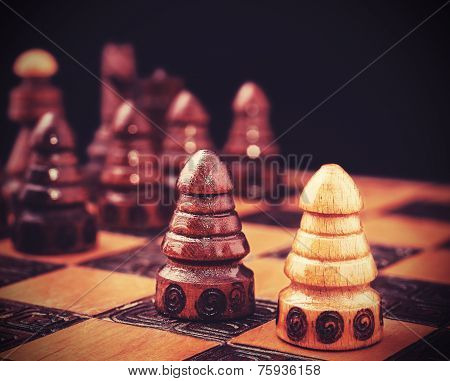 Vintage Filtered Picture Of Chess, One Against All Concept.