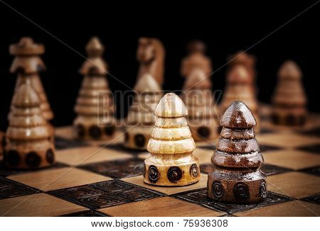 Picture Of A Chess, One Against All Concept.