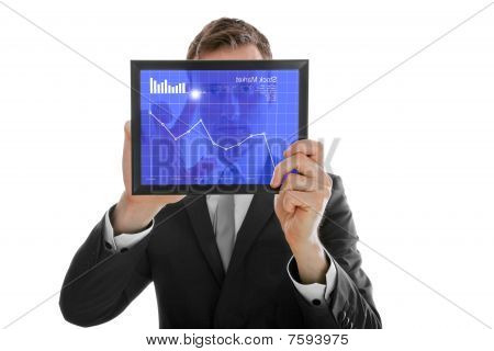 Businessman Holding A Touchpad Pc, Checking The Stock Market, Isolated On White