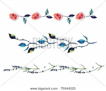 Watercolor decorative elements - boarders with rose and lavender