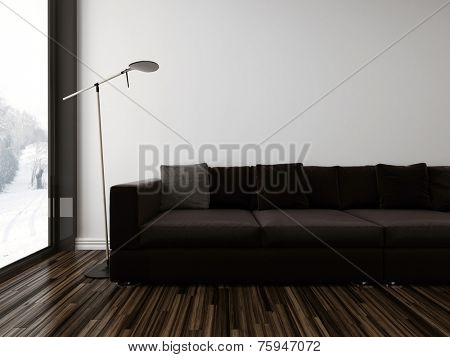 3D Rendering of Minimalist sombre living room interior with a brown upholstered couch on a dark wood parquet floor alongside a floor-to-ceiling view window, partial view