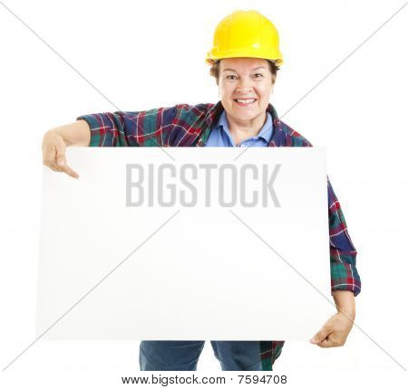 Female Worker With Sign