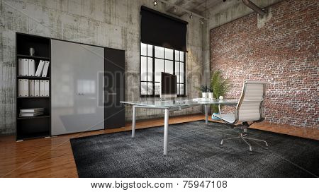 3D Rendering of Commercial office in a modern interior with a textured feature brick wall, bookcase and cabinets and a workstation on a table facing a large feature window
