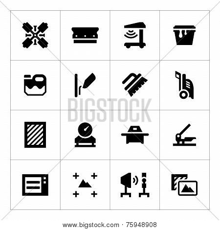 Set Icons Of Screen Printing