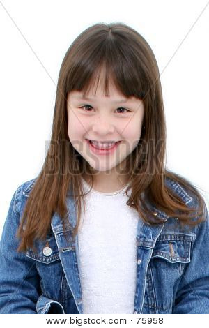 Seven Year Old Girl In Denim Over White