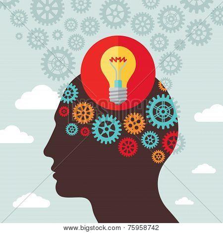 Human head idea - vector concept illustration in flat design style for business presentation, brochu