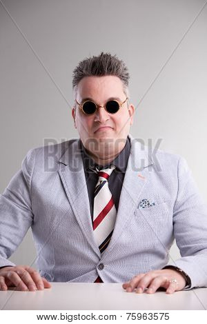 Plump Aggressive Bossy Businessman Waiting