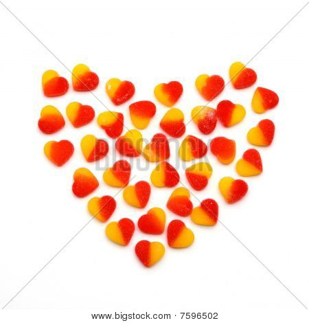 Heart From The Fruit Candies Hearts On A White Background