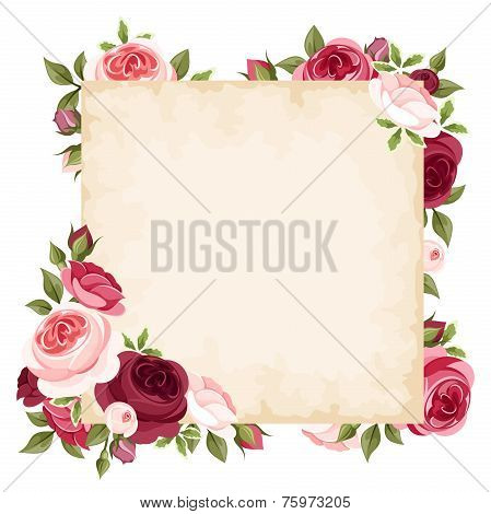 Vector card with red and pink roses.