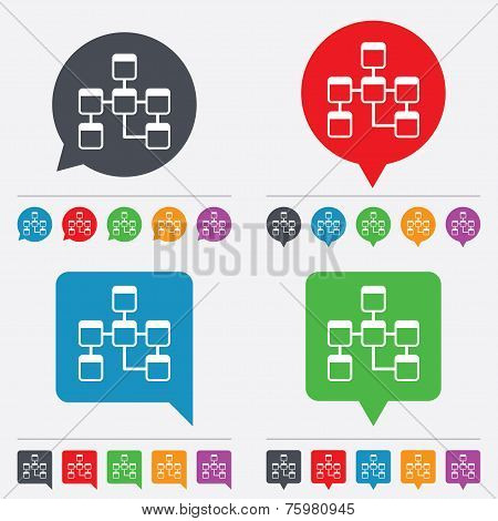 Database sign icon. Relational database schema symbol. Speech bubbles information icons. 24 colored buttons. Vector poster