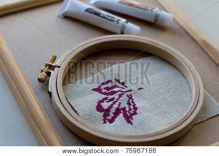 Cross Stitch Purple Autumn Leaf And Wooden Frame