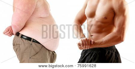 Health and fitness concept. Before and after weight loss by man.