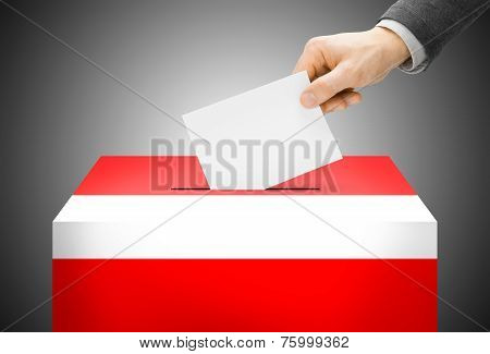 Voting Concept - Ballot Box Painted Into National Flag Colors - Austria