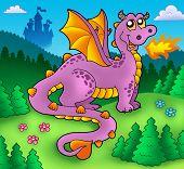 Big purple dragon with old castle - color illustration. poster
