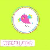 Congratulations card with cute bird. Vector illustration poster