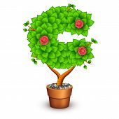 Isolated tree with flowers in clay pot. In the form of letter C. Vector illustration in eps10 poster