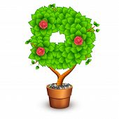 Isolated tree with flowers in clay pot. In the form of letter D. Vector illustration in eps10 poster