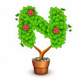 Isolated tree with flowers in clay pot. In the form of letter N. Vector illustration in eps10 poster