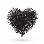 Scribble black heart, Hand drawn design element poster