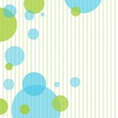 Retro  blue and green circles and stripes on white background poster