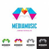 Media music - vector logo sign concept. Origami style illustration. M letter abstract concept. Vector logo template. poster