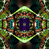 Symmetrical fractal pattern with shiny strips. Collection - rhinestones. On black background. poster