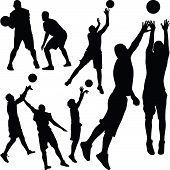 set of eight basketball players with ball poster