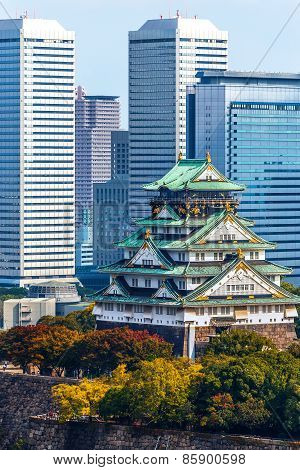 View of Osaka Castle in Japan in Autumn