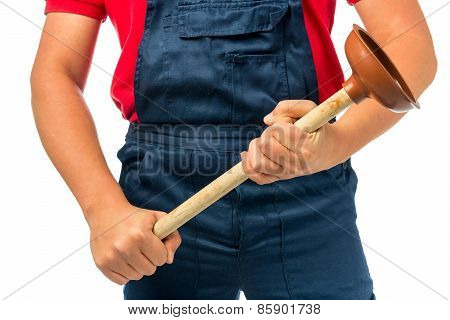 Plunger For Pipe In The Hands Of A Plumber