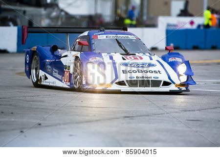 Sebring, FL - Mar 19, 2015:  The Chip Ganassi Racing car races through the turns at the 12 Hours of Sebring at Sebring Raceway in Sebring, FL.