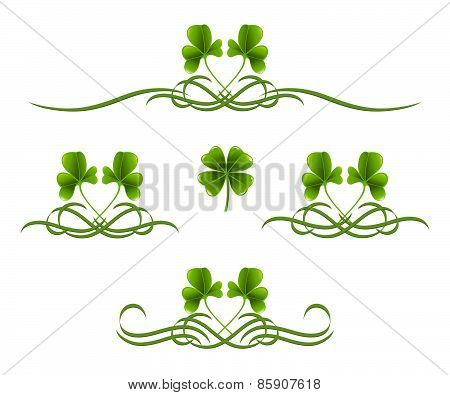Elements In Vintage Style With Clover Leafs. Symmetric Inward