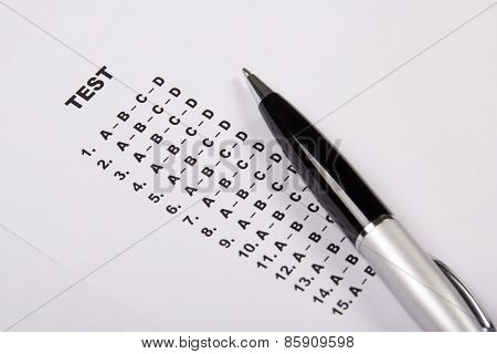 Test Score Sheet With Answers And Pen