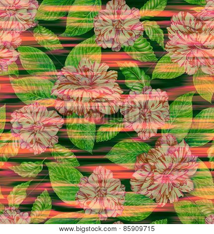 Seamless Exotic Floral Pattern, Pink Camellias And Tropical Leaves On Striped Backgropund.
