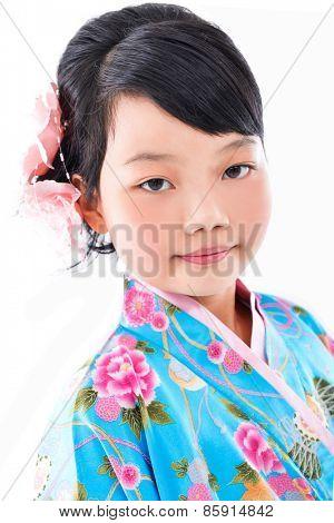 Little girl wearing a kimono
