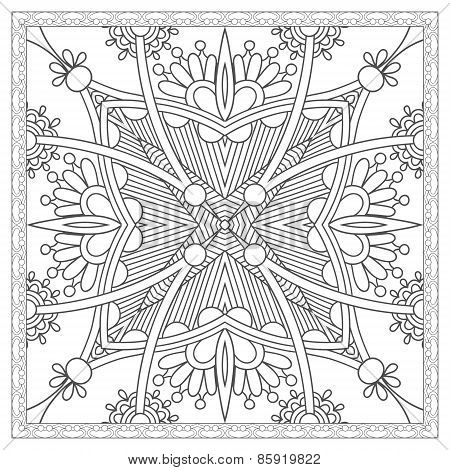 coloring book square page for adults - ethnic floral carpet desi