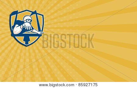 Business Card American Football Receiver Scoring Touchdown Goalpost